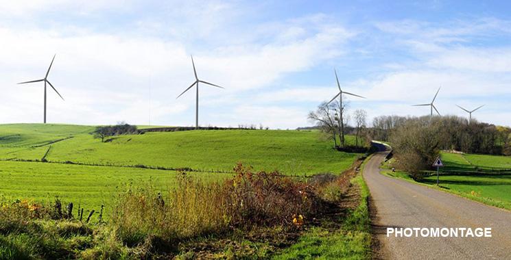 Photomontage parc éolien de Jura Nord