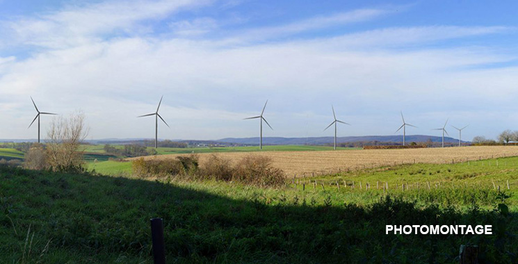 Photomontage du parc éolien de Jura Nord