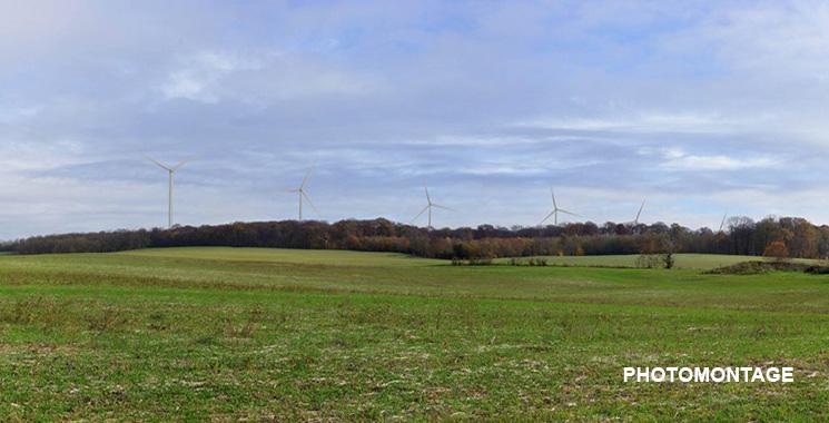 photomontage des éoliennes du parc éolien de Jura Nord