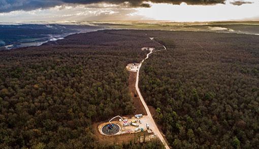 Fondations d'éoliennes en forêt